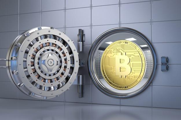 3d rendering bitcoin d'oro nel caveau di una banca