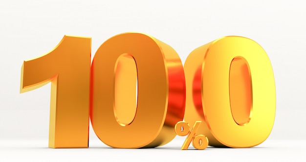 Rendering 3d di una vendita d'oro al 100%, segno di sconto percentuale d'oro, promozione di vendita, offerta speciale sconto del 100%,