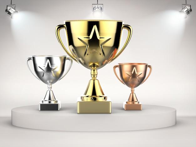 3d che rende il trofeo d'oro, d'argento e di bronzo sul palco con luci brillanti