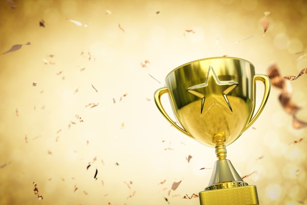 3d rendering trofeo stella d'oro su sfondo glitter oro