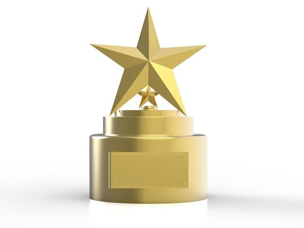 3d rendering trofeo stella d'oro su sfondo bianco