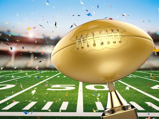 3d che rende il trofeo dorato di football americano con lo sfondo del campo di calcio