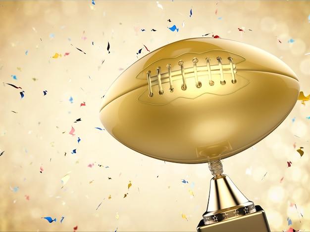 3d che rende il trofeo di football americano dorato