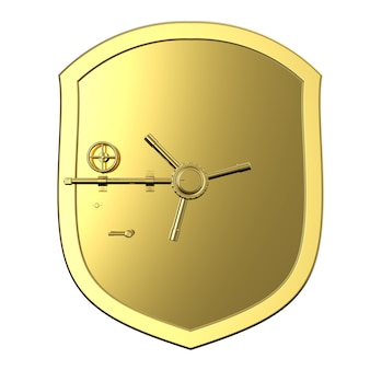 3d che rende la cassaforte della banca dorata o il caveau di una banca isolato