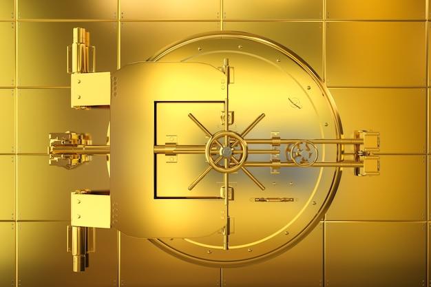 3d rendering caveau di una banca d'oro su parete dorata