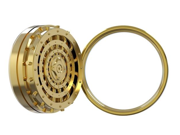3d rendering caveau di una banca d'oro aperto isolato su bianco