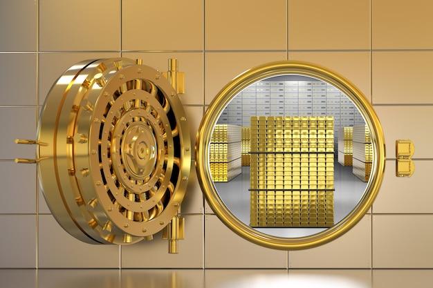 3d rendering caveau di una banca d'oro aperto con lingotti all'interno