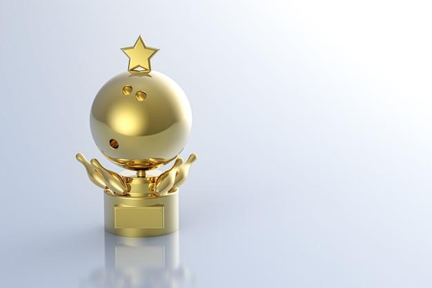 3d che rende il trofeo di bowling dorato su sfondo bianco