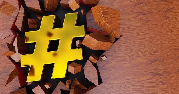 Rendering 3d dell'icona hashtag dorata su sfondo incrinato, hashtag oro su sfondo di legno