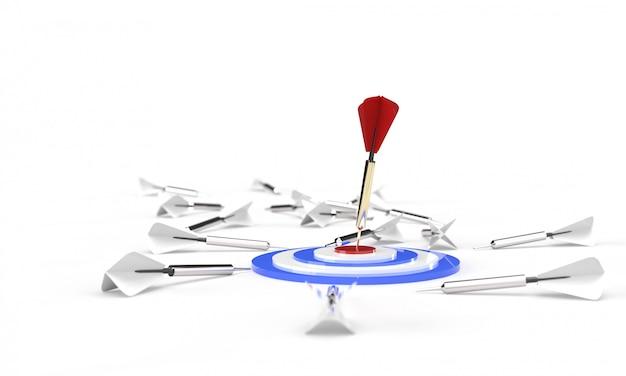 Rendering 3d, rosso dorato solo un dardo che colpisce il centro di un bersaglio blu bianco rosso, molte freccette grigie bianche sul pavimento, isolato su bianco. affari strategici o concetto di motivazione.