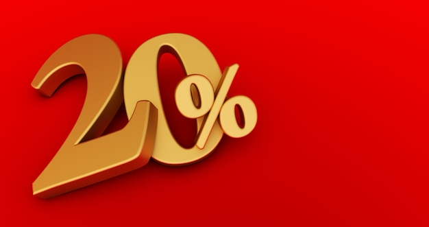 Rendering 3d di un venti per cento d'oro su uno sfondo rosso. vendita di offerte speciali. lo sconto con il prezzo è del 20%.