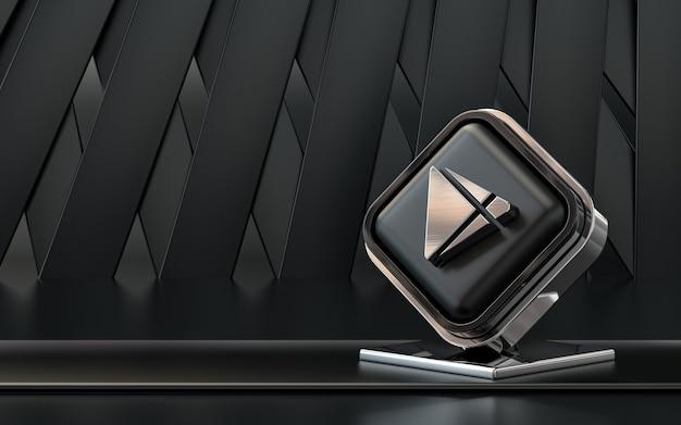 3d rendering google play store icona social media banner sfondo astratto scuro