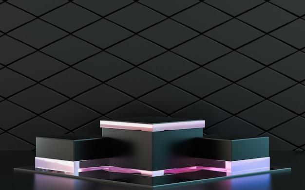 3d che rende il palco del podio geometrico astratto lucido sfumato per la presentazione del prodotto