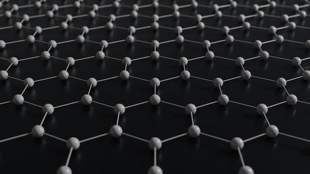Rendering 3d della griglia molecolare del grafene