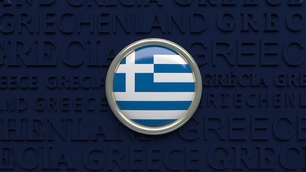 Rendering 3d di un pulsante lucido di bandiera nazionale grecia