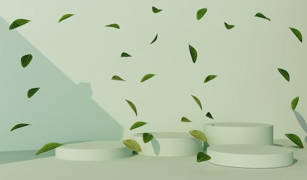 Rendering 3d di sfondo verde per la presentazione del prodotto. podio con foglie.