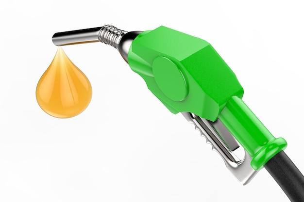 Ugello della pompa del gas verde della rappresentazione 3d con la gocciolina di olio