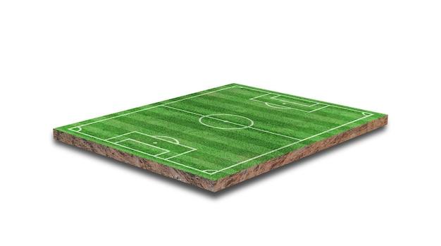 Rendering 3d. campo da calcio in erba verde isolato su sfondo bianco.