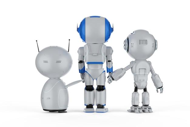 Gruppo di rendering 3d di robot di intelligenza artificiale con personaggio dei cartoni animati
