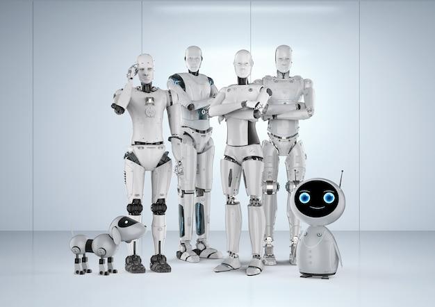 3d rendering gruppo di robot di automazione su sfondo bianco