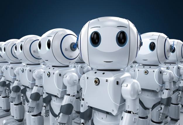 Gruppo di rendering 3d di simpatici robot di intelligenza artificiale o esercito di robot con personaggio dei cartoni animati