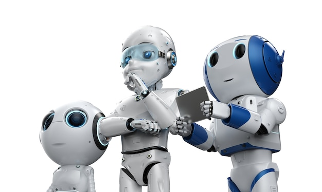 3d rendering gruppo di simpatici robot in fabbrica per la tecnologia industriale