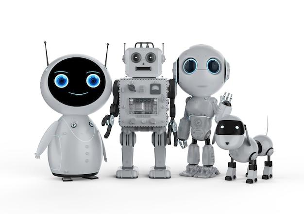 3d rendering gruppo di robot amichevoli su sfondo bianco