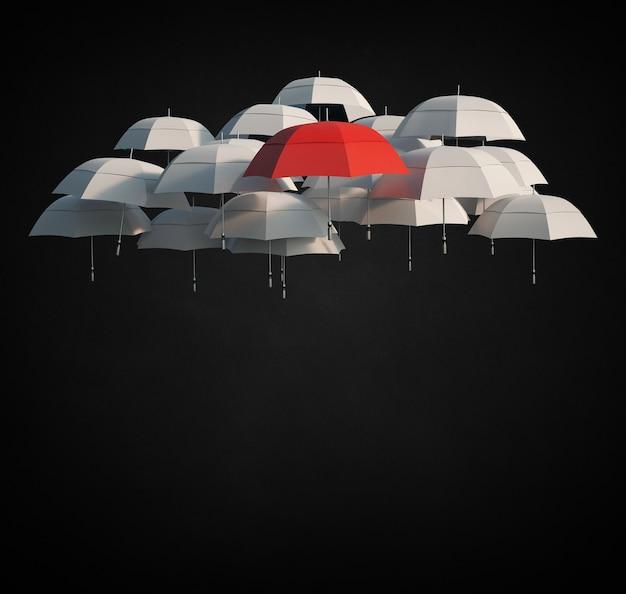 Rendering 3d di un gruppo di ombrelloni grigio chiaro e uno rosso fluttuante a mezz'aria con copia spazio sottostante