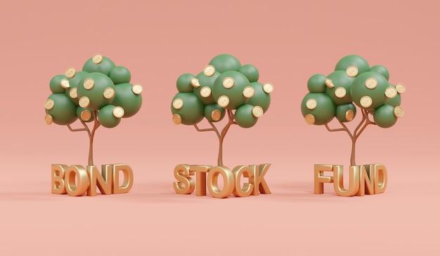 Rendering 3d della crescita dell'albero dei soldi sul fondo azionario obbligazionario di parola sullo sfondo del concetto di diversificazione