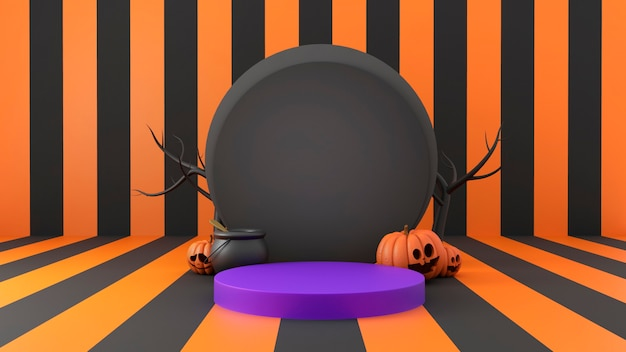 Rendering 3d di un podio di halloween