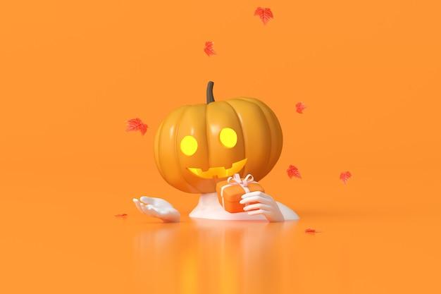 La rappresentazione 3d della testa della zucca di halloween sul corpo umano della scultura sta tenendo una scatola regalo.