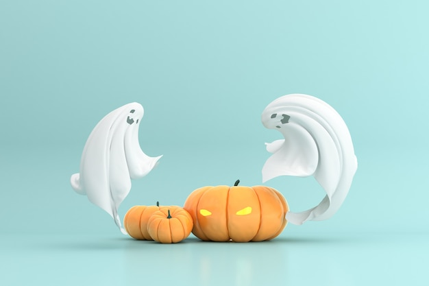 Rendering 3d della lanterna e del fantasma della presa della testa della zucca di halloween