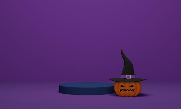 Rappresentazione 3d. zucca di halloween che indossa un cappello da strega con podio su sfondo viola. scena minimale astratta per lo sfondo di halloween