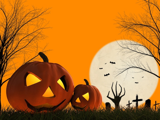 3d rendering zucca di halloween e mano zombie che si alzano