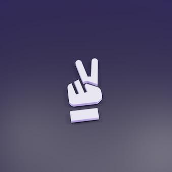 3d rendering mano segno di pace