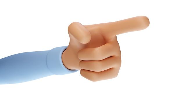 Rendering 3d di una mano che mostra un dito o che punta