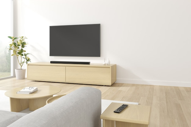 Rendering 3d di schermo televisivo appeso sul muro bianco.
