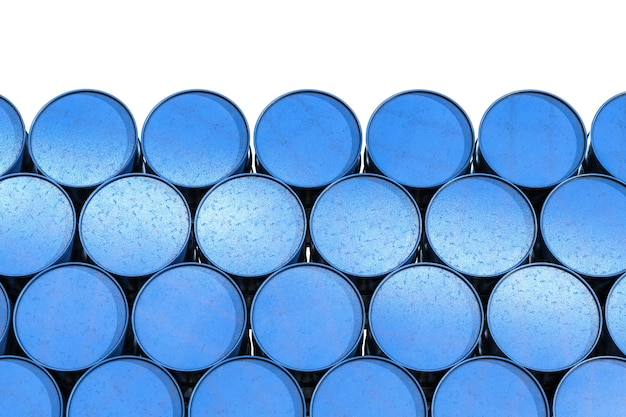3d rendering mucchio di barili blu isolato su bianco Foto Premium