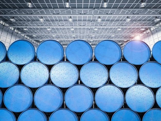 3d rendering mucchio di barili blu in magazzino