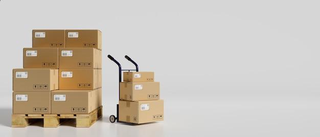 Rendering 3d, mucchio di scatole di cartone nel magazzino con un carrello su sfondo bianco, illustrazione 3d