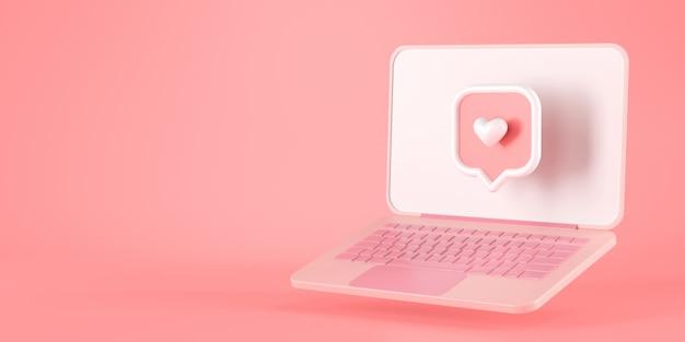 Rendering 3d di icona del messaggio di cuore e laptop rosa.