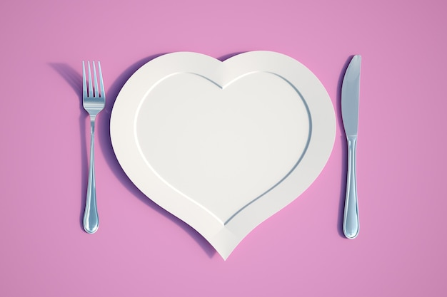 Rendering 3d di un piatto a forma di cuore con coltello e forchetta