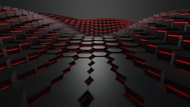 3d rendering forma geometrica esagonale con tecnologia di illuminazione rossa sfondo astratto