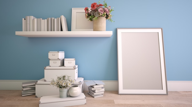 Rendering 3d di un interno di casa nel processo di decorazione con una cornice per poster mock up