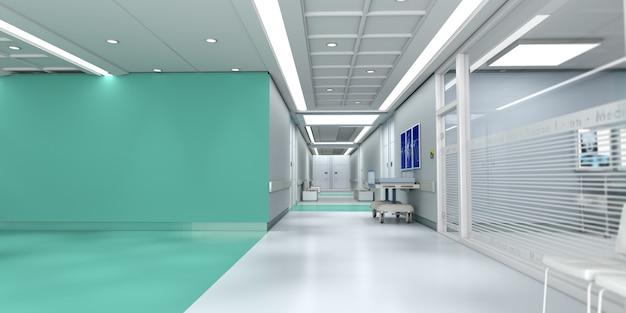 Rendering 3d di un interno di un ospedale con un sacco di spazio copia