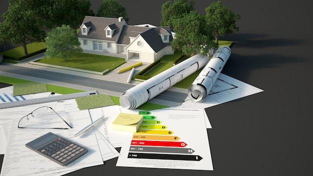 Rendering 3d di un modello architettonico e paesaggistico di una casa con progetti, grafici di efficienza energetica e altri documenti