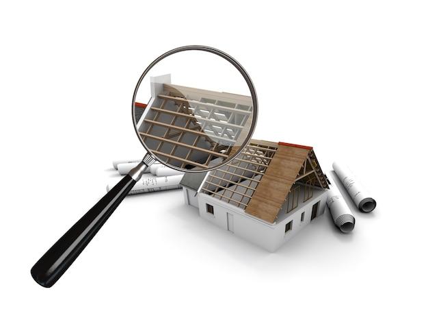 Rendering 3d di una casa in costruzione esaminata da una lente di ingrandimento