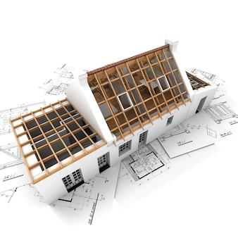 Rendering 3d di una casa che mostra diversi strati della struttura del tetto