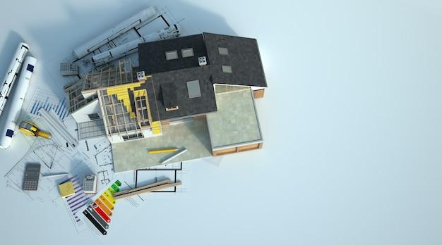 Rendering 3d di una casa in fase di ristrutturazione con un grafico energetico, schemi e altri documenti