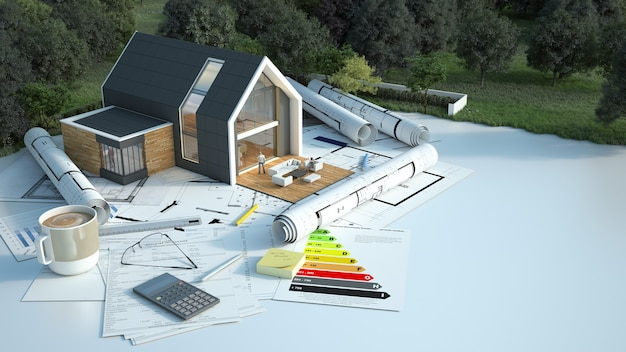 Rendering 3d di una casa con progetti, grafici energetici e altri documenti in un campo